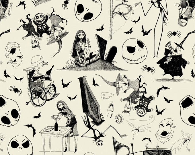 Nightmare Before Christmas - Jack is Back - Sketched - Cream - Cotton Woven Fabric - Camelot