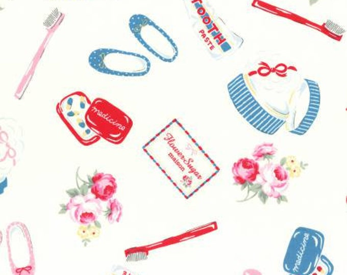 Lecien, Flower Sugar Maison Fall 2016 Collection, Toothbrush, Paste, Toiletries Cotton Oxford on White