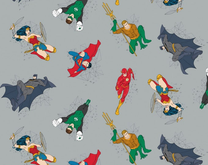 Justice League Activated - Grey Heroes in Action - Cotton Woven Fabric - Camelot
