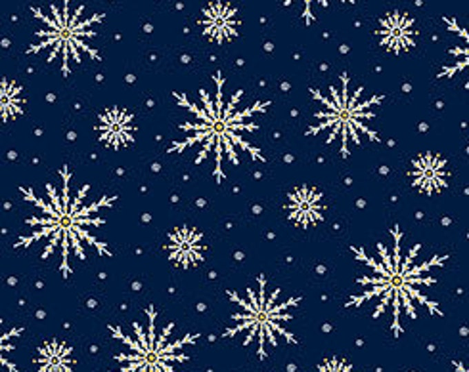 Quilting Treasures - Christmas Eve - Snowflakes on Navy - Metallic Cotton Woven Fabric