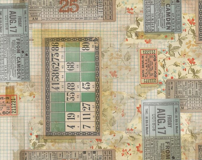 Free Spirit Fabric - Tim Holtz Eclectic Elements Memoranda - Tickets PWTH091.MULTI Cotton Woven Fabric