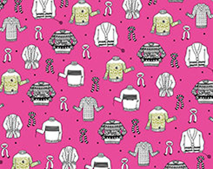 Quilting Treasures - Wool Ewe Pink by Ink and Arrow - Knitted Sweaters on Pink Cotton Woven Fabric
