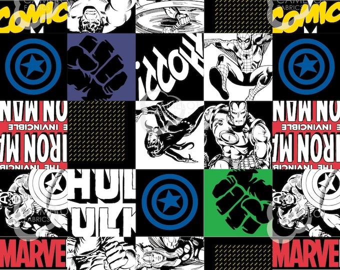 Marvel - Hero Blocks - Black - Cotton Woven Fabric