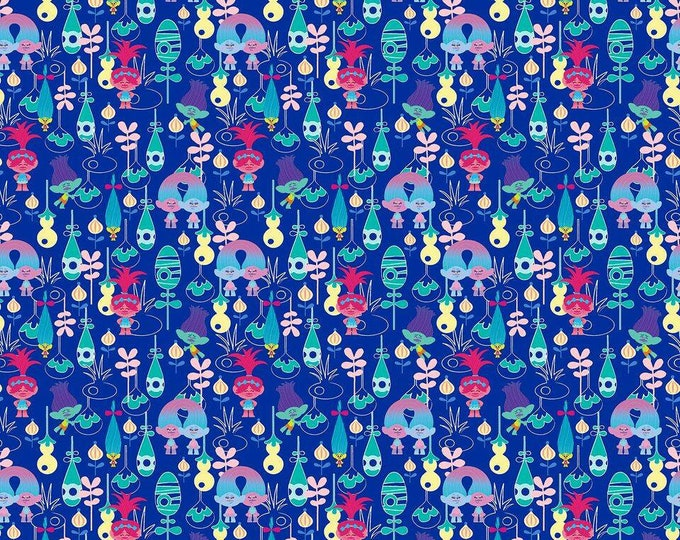 Dreamworks Trolls Packed on Blue cotton woven fabric