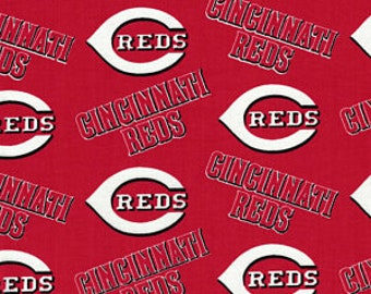 Fabric Traditions - Licensed MLB - Cincinnati Reds Major League Baseball Cotton Woven Fabric 60 Inches wide