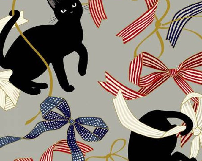 Hyakka Ryoran Neko 4 - Cats & Ribbon - Gray - Metallic Cotton Woven Fabric from Japan