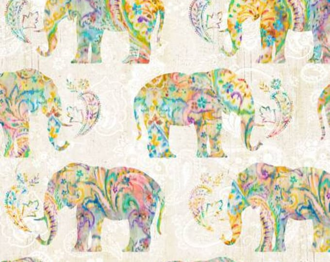 Danhui Nai - Bohemian Dreams - Elephants - Cream - Cotton Woven Fabric - Wilmington - 89191-154