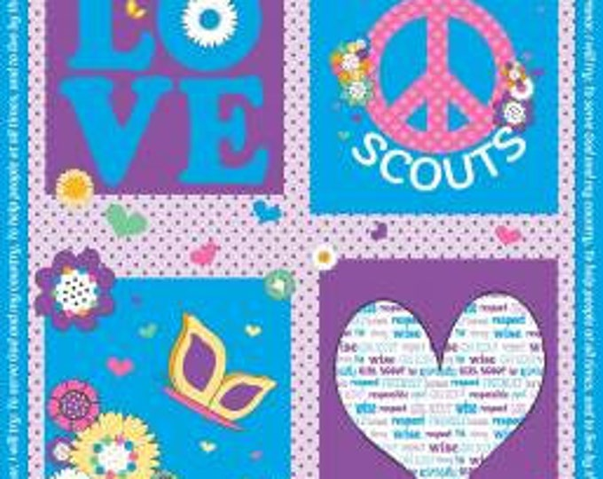 Riley Blake Fabric - Licensed Girl Scout Panel on Blue Cotton Woven Fabric