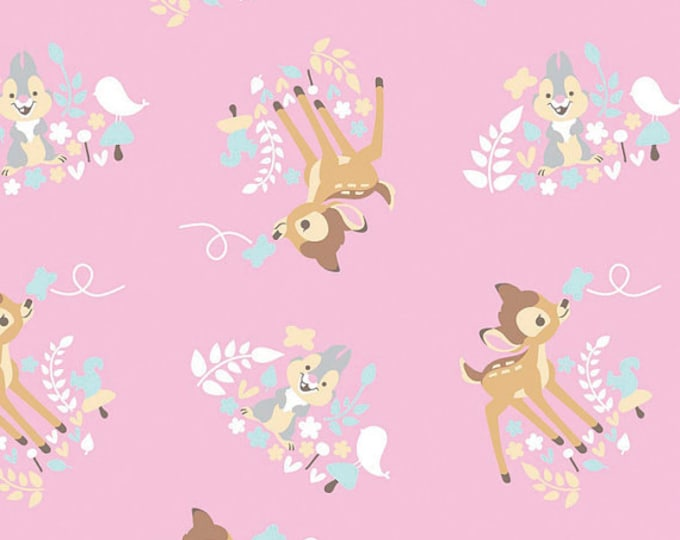 Disney, Bambi and friends on Pink cotton fabric, Springs Creative