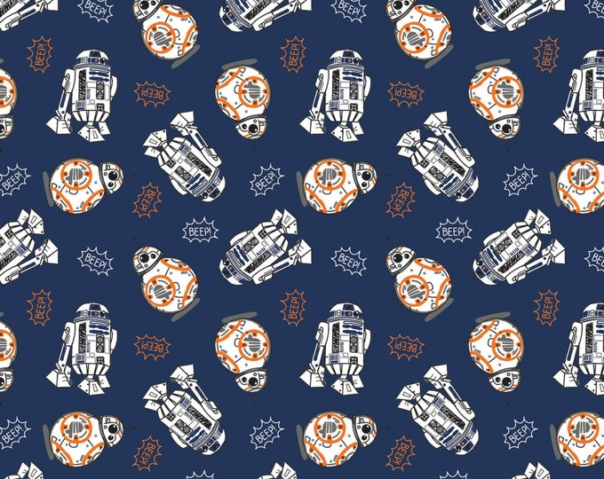 Camelot Fabrics - Licensed Star Wars - BB8 & R2D2 Beep Navy # 73010704-4 - Cotton Woven Fabric