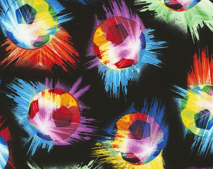 Tie Dye Soccer Balls Cotton Woven Fabric by Timeless Treasures