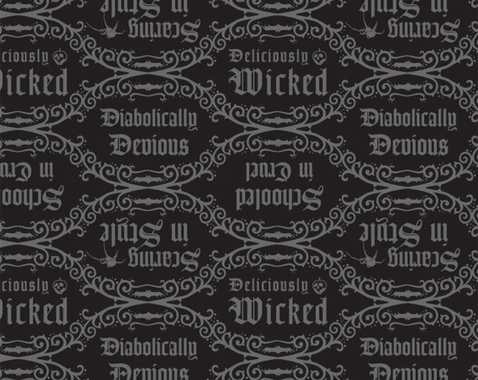 Camelot Fabrics - Disney Villains Diabolically Devious - Diabolical Quotes Black # 85990205-2 - Cotton Woven Fabric