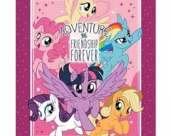 "Camelot Fabrics - Licensed My Little Pony - Adventure and Friendship My Little Pony 36"" panel Digital Cotton Woven Fabric"