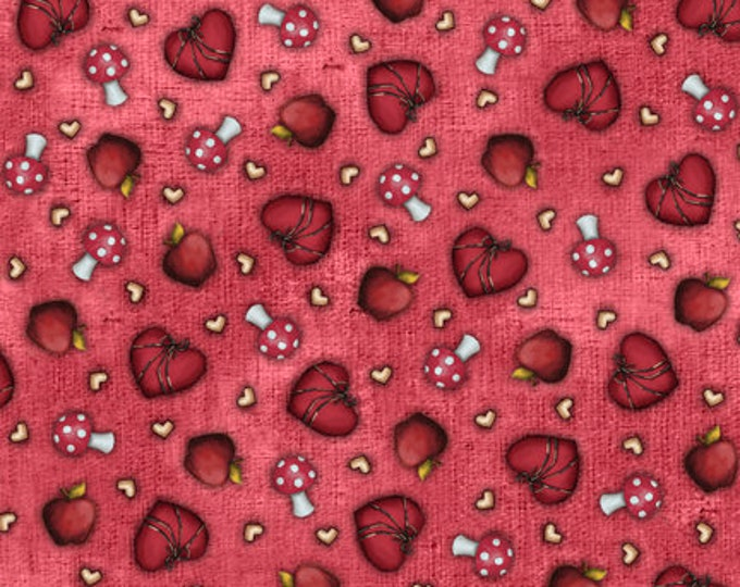 Quilting Treasures - My Story Licensed Santoro - Light Red Heart & Mushroom Toss 27143-R - Cotton Woven Fabric