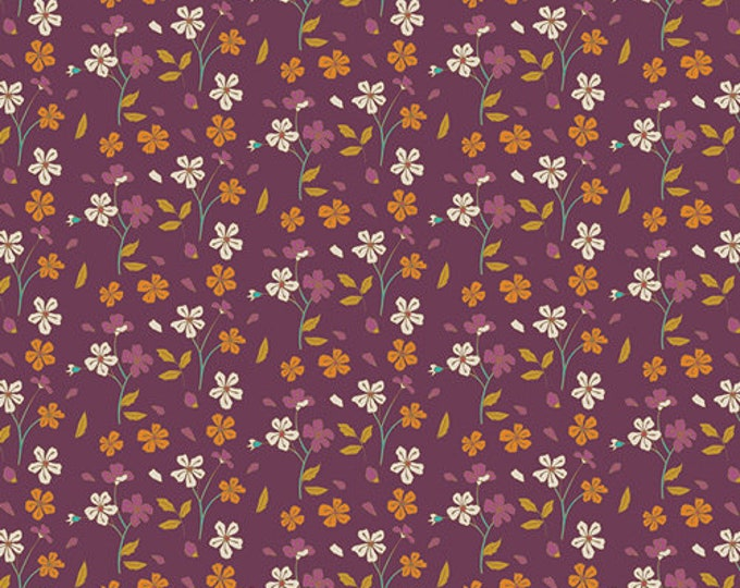 Art Gallery Fabrics - Autumn Vibes - Cozy Ditzy - Plum -  Cotton Woven Fabric - Maureen Cracknell