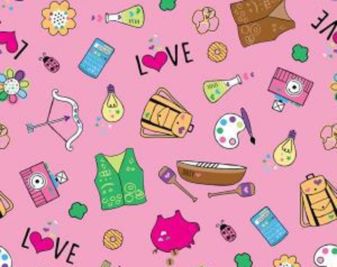 Riley Blake Fabric - Licensed Girl Scout Main on Pink Cotton Woven Fabric