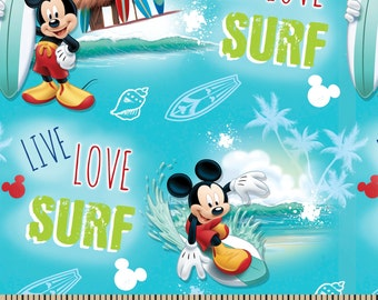 CLEARANCE -    ! Mickey Live, Love, and Surf Cotton Woven  - Price per yard !