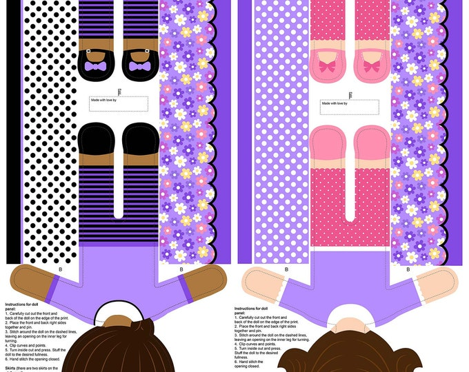 Northcott Fabrics - Girls of The World - Girls Stuffed Doll Panel - Purple - 24 Inch Panel 22340-83 Cotton Woven Fabric