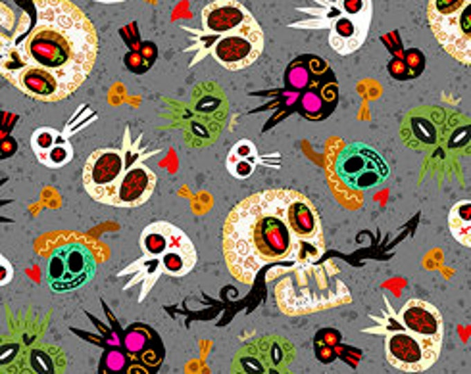 Quilting Treasures Fabric - Hot Tamale -  Tossed Skulls on Gray Cotton Woven Fabric