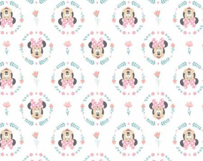 Camelot Fabrics  - Mickey and Minnie in the Meadow - Wildflowers in Pink #85270403 Cotton Woven Fabric