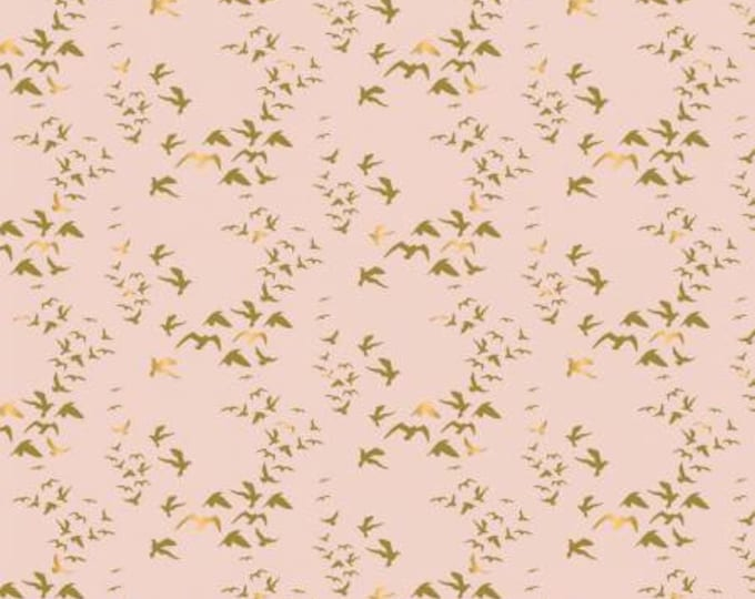 Up Up and Away Metallic Birds on Pink cotton woven fabric