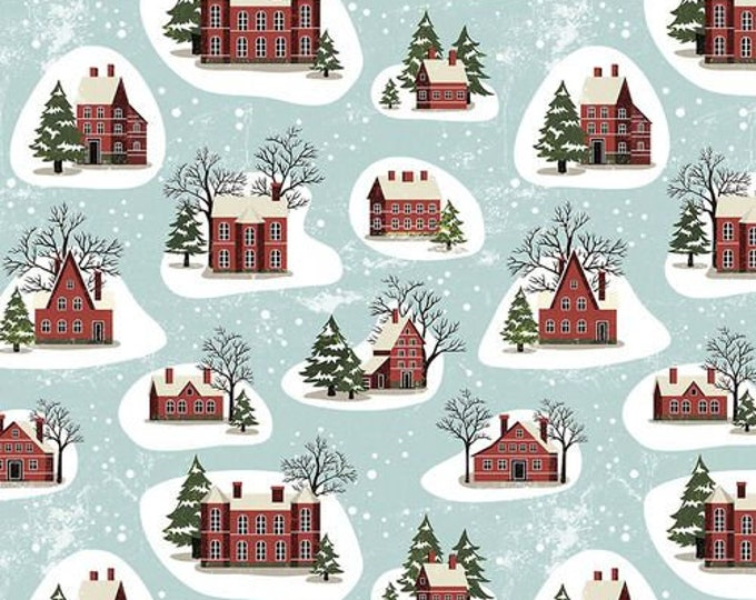 Free Spirit - Eclectic Elements - Yuletide by Tim Holtz - Winter Village Aqua PWTH125.AQUA - Cotton Woven Fabric