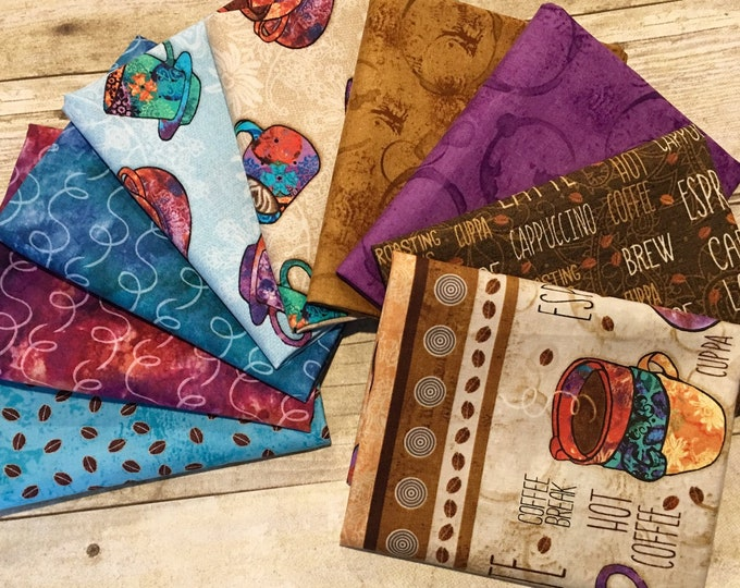 "Studio E - Coffee Break by Alexa Kate Design  - Bundle of 9 Fat Quarters  (18"" x 22"")  - Cotton Woven Fabric"