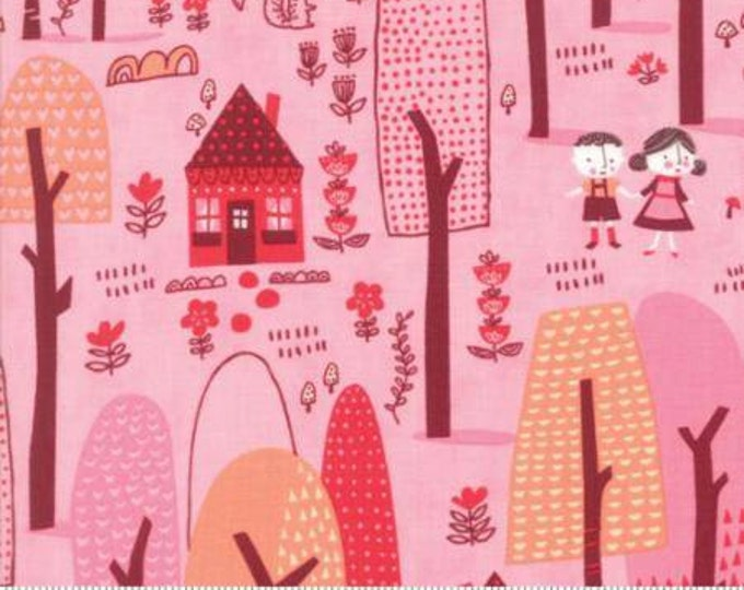 Moda Fabric - Just Another Walk in the Woods - Walk in the Woods on Pink Cotton Woven Fabric
