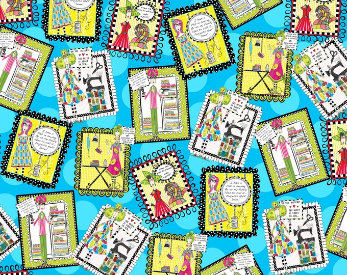 Quilting Treasures - Sew Sassy - Sewing Patches Toss Aqua Cotton Woven - 26785-B
