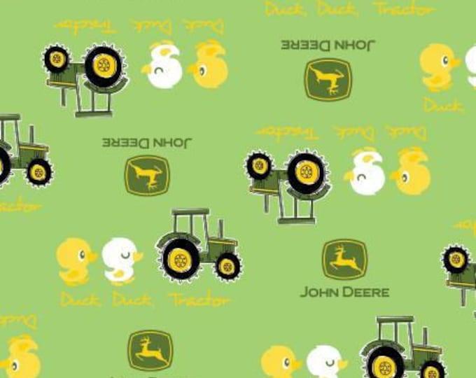 Springs Creative - John Deere Tractors - Duck Duck Toss on Green Cotton Woven Fabric