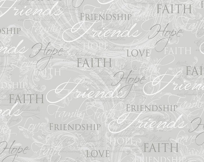 David Textiles - Inspirational Christian Faith, Friends, Love, and Hope on gray cotton woven fabric