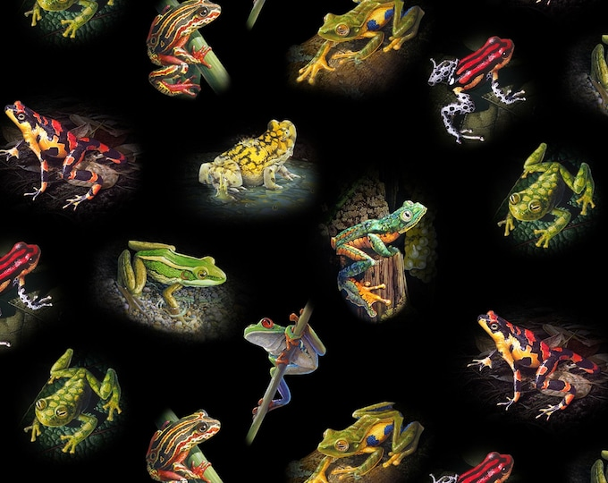 Elizabeth Studios - Amazing Frogs by Carel Pieter Brest van Kemper Black Assorted Frogs # 16001E-BLK Cotton Woven Fabric
