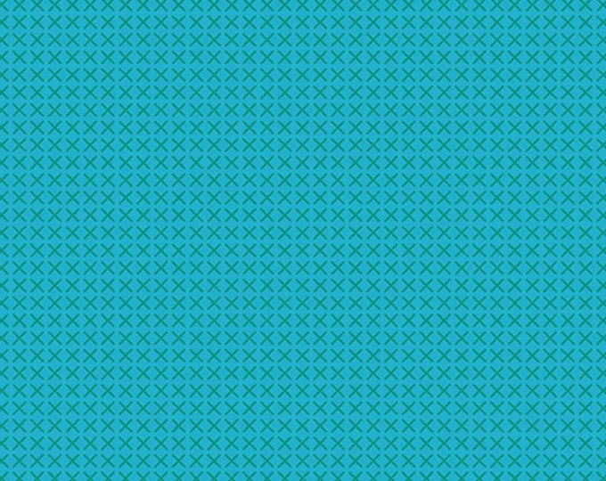 Andover Fabrics - Handiwork by Alison Glass - Cross Stitch Teal #9254-T - Cotton Woven Fabric