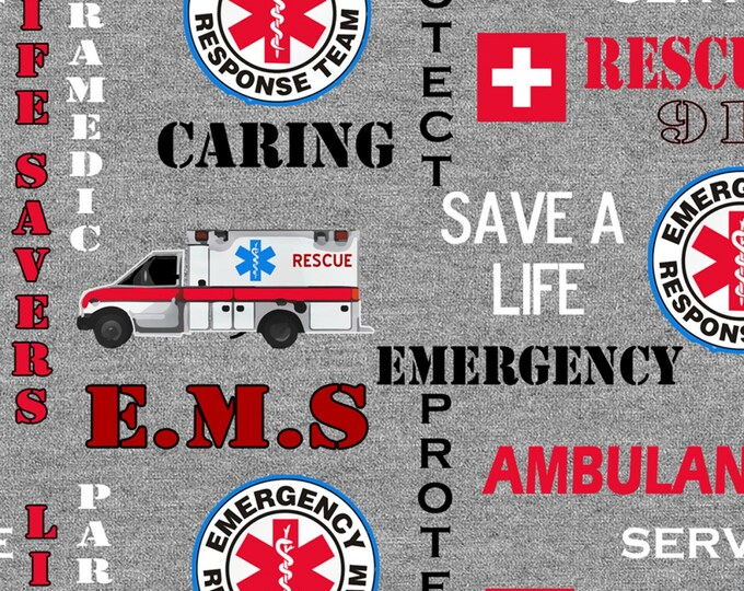 Rescue 911 emergency, Heather Grey Rescue 911 Emergency Seal Cotton Woven # RESCUE-1181