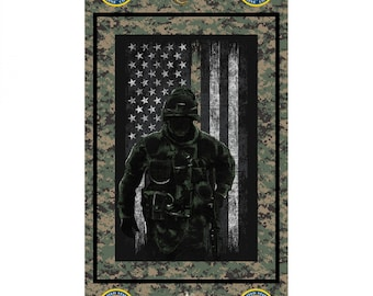 Skyel - Licensed Military & Public Service Panels - United State Marine Cotton Woven Panel 22in X 44in #1195-5