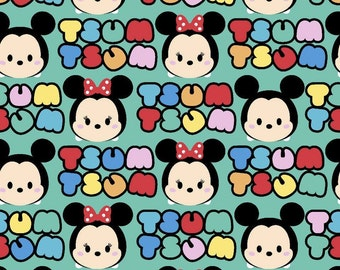LAST PIECE - 1 yard and 24 inches - Springs Creative - Tsum Tsum - Mickey/Minnie Stripe Cotton Lycra Knit Fabric