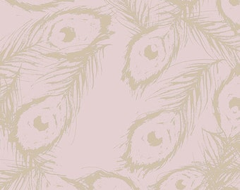 Art Gallery Fabric - Decadence - Ormolu Royal Feathers - Cotton Woven Fabric - Bari J