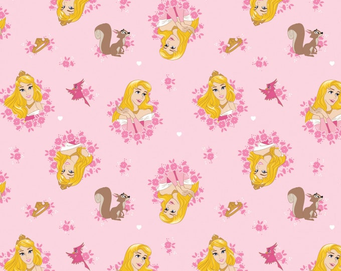 Camelot Fabric- Licensed Disney Forever Princess- Pink Princess Aurora in Wreaths - Cotton Woven Fabric