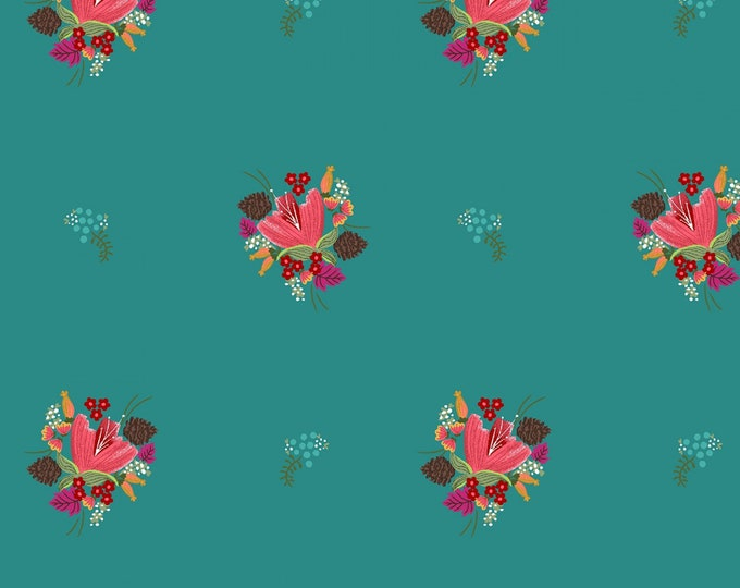 Michael Miller Fabrics - Little Sewists by Little Lizard King - Teal Soul Blossom # DC8464-TEAL - Cotton Woven Fabric