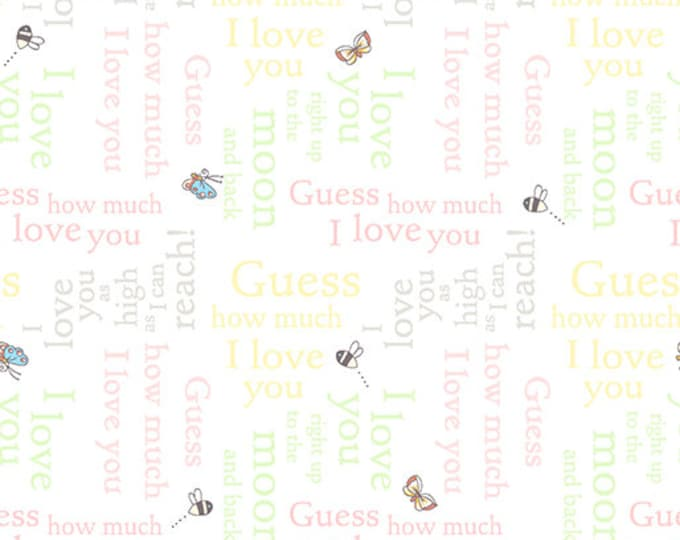 Clothworks Fabrics - Guess How Much I Love You - Pastel Text Collage Multi Y-2520-54 Cotton Woven Fabric