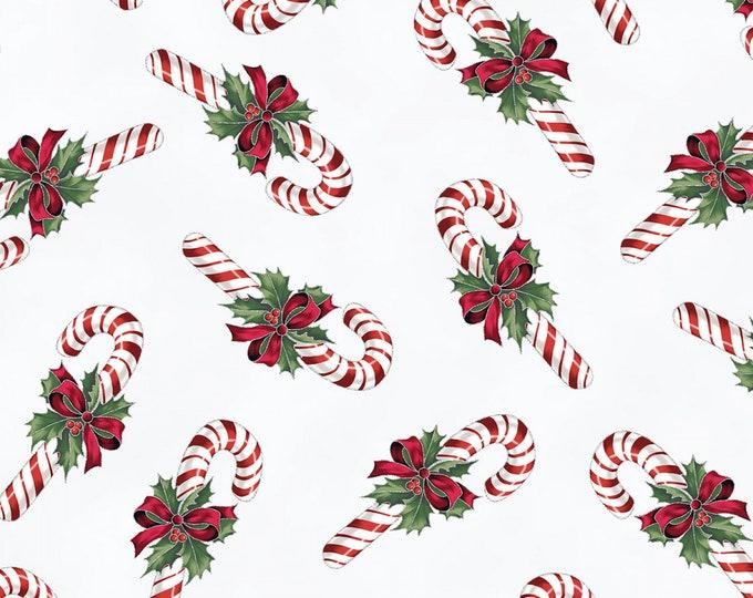 Hoffman Cardinal Carols - Candy Canes on White - Metallic Cotton Woven Fabric