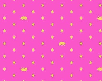 Tula Pink - Spirit Animal - Bear Hug Starlet Pink Cotton Woven Fabric