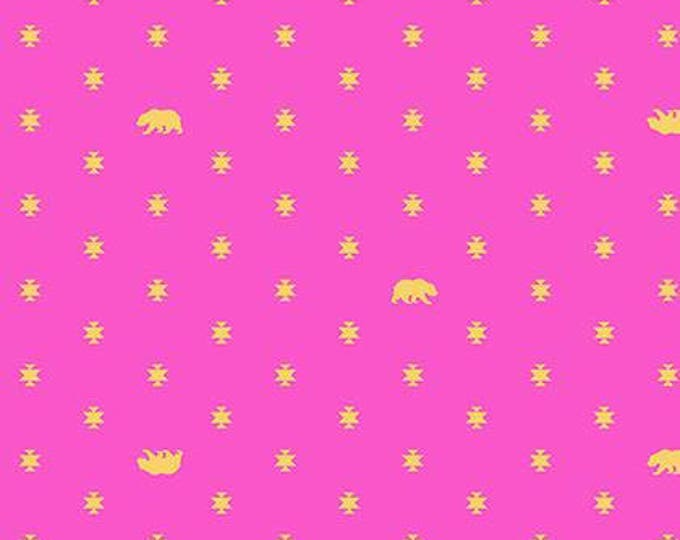 Bear Hug Starlet Pink Cotton Woven, Tula Pink's Spirit Animal