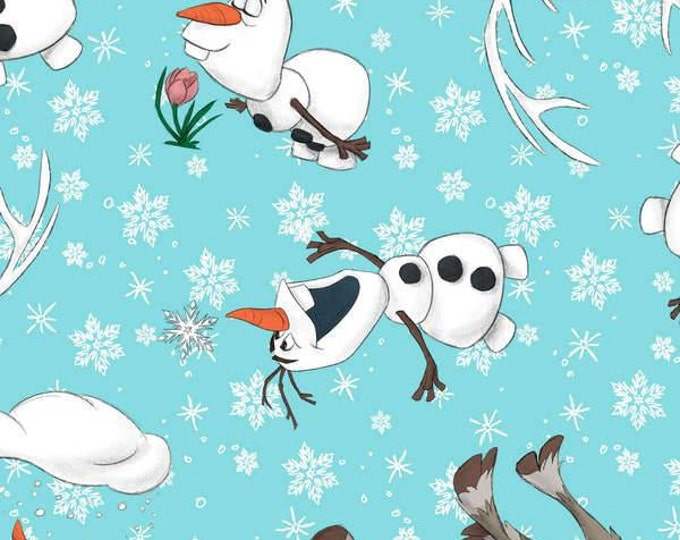 "Springs Creative - Licensed Disney Frozen Olaf and Sven Cotton 59"" Wide Spandex Knit"