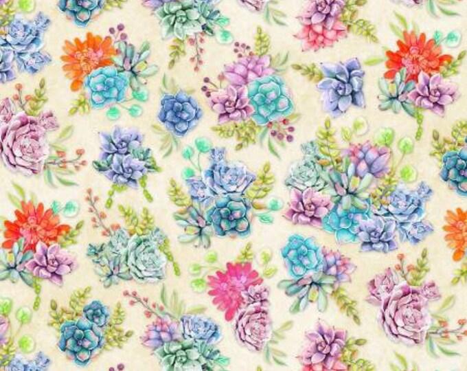Humming Along - Succulent Garden - Tan - Cotton Woven Fabric - by Wilmington Prints