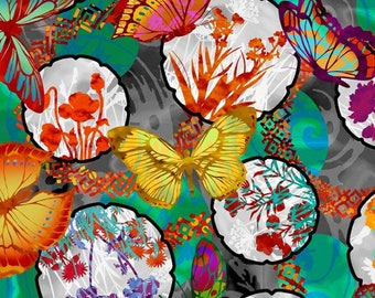In the Beginning Fabrics - Dreamscapes by Jason Yenter -  Butterflies Floral Multi 3JYH-1 Cotton Woven Fabric