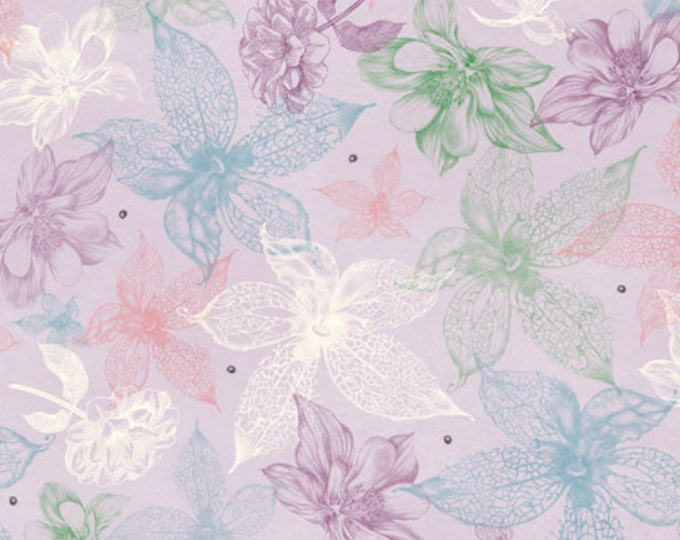 Quilting Treasures -  Midnight Garden by Mirabelle - Licensed by Santoro -   Light Lilac Sketched Floral #26943L