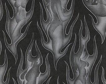 Alexander Henry Fabric - Shape of Fire - Black/Grey #8723C Cotton Woven Fabric