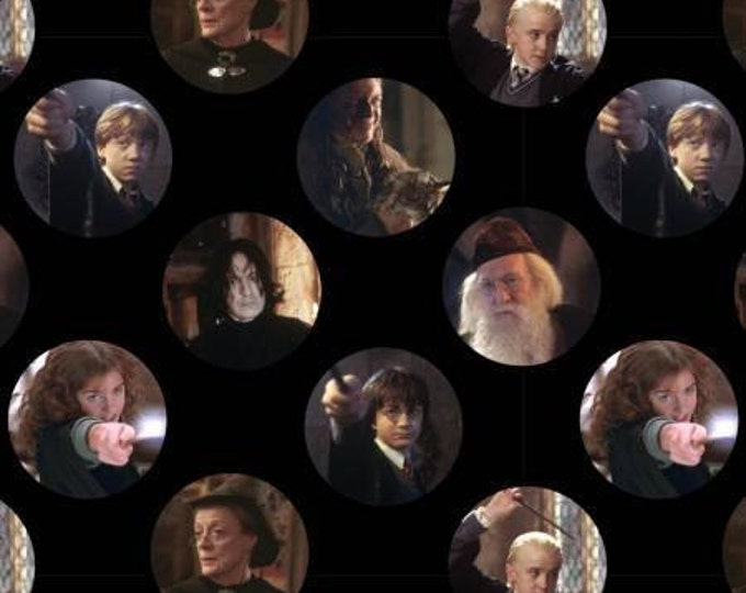Camelot Fabrics - LIcensed Harry Potter - Character Circles, Harry Potter Digitally Printed Cotton Woven Fabric