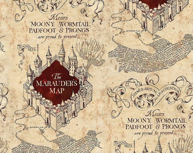 Camelot Fabrics - Licensed Harry Potter - Marauder's Map Cotton Lycra Knit fabric